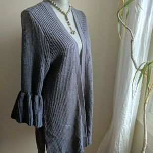 [Torrid] Grey Bell Sleeve Open Cardigan Knit Sz 1